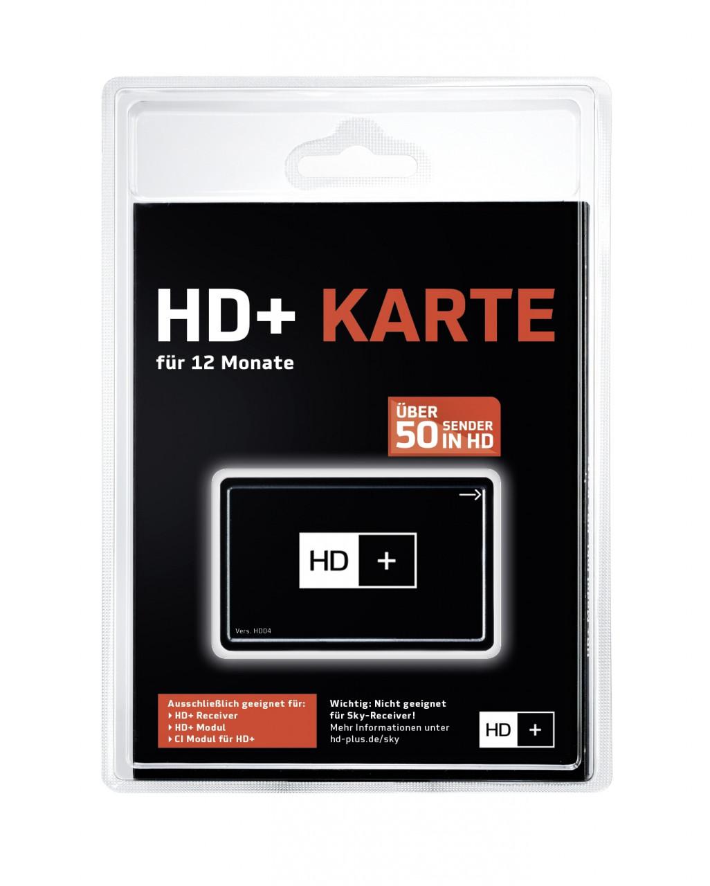 HD PLUS Karte für 12 Monate geeignet für HD und UHD, für Satellitenempfang